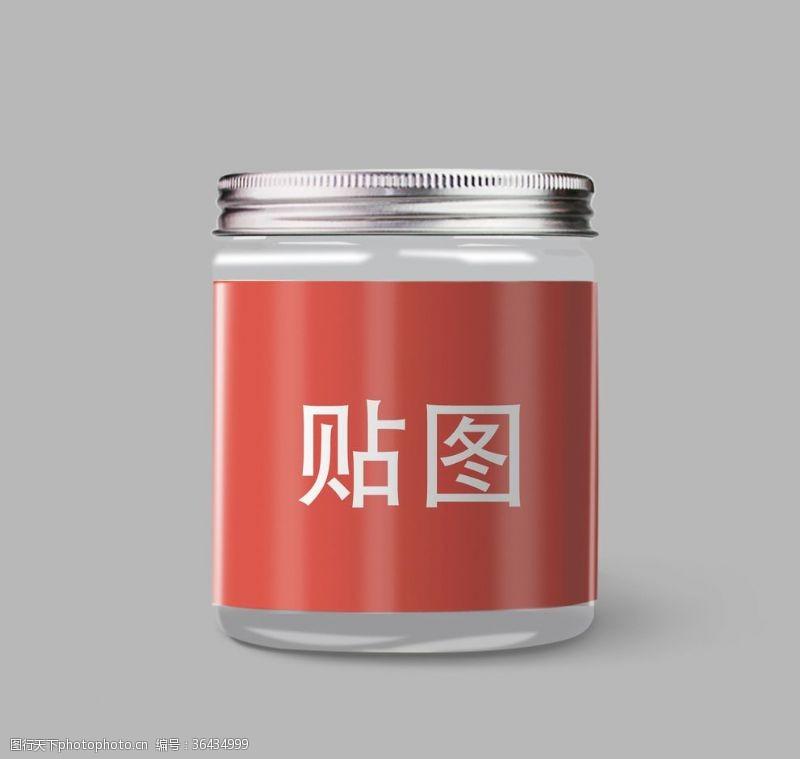 psdPVC透明塑料罐包裝樣機
