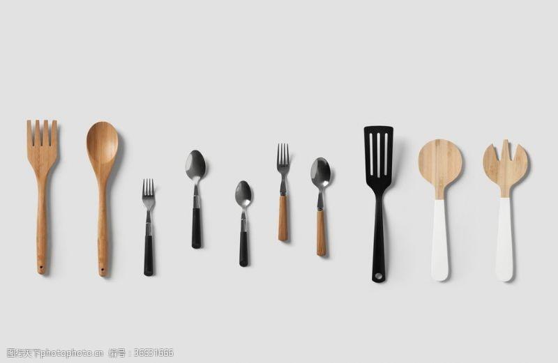 300dpi叉子勺子樣機餐具飯店廚房用品