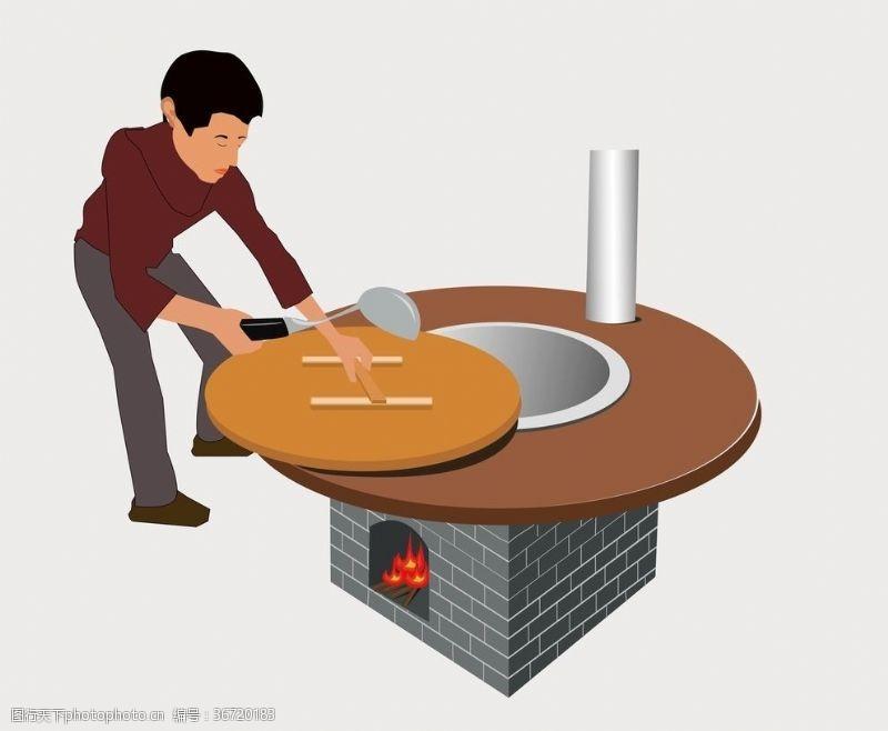 广告设计手绘卡通插画烧火地锅鸡肉台