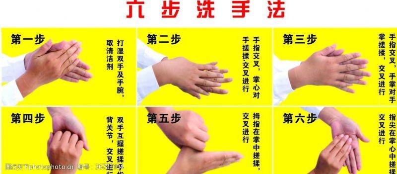 展板模板六步洗手法