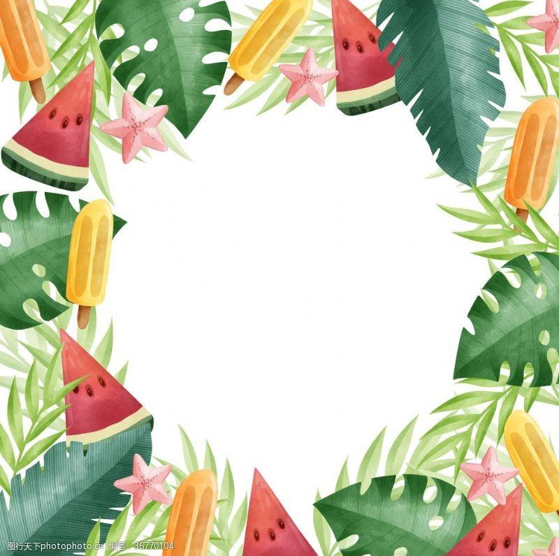 西瓜夏季花圈多彩背景