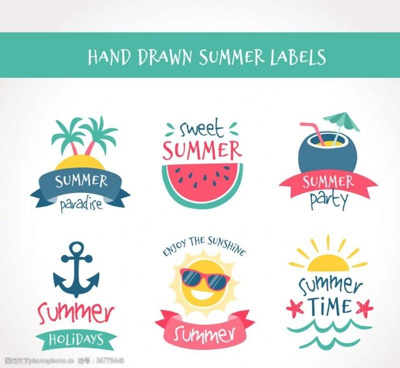 西瓜彩色手繪夏季標簽