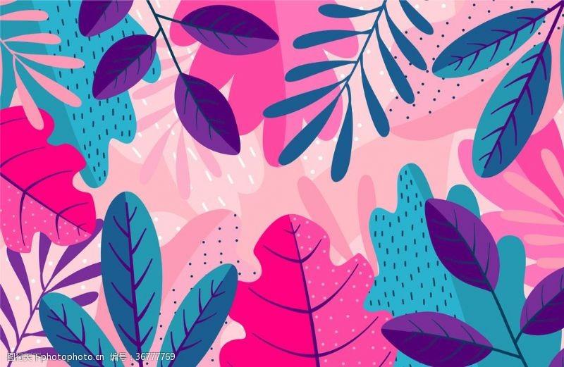 夏天你好矢量手繪植物葉子插畫