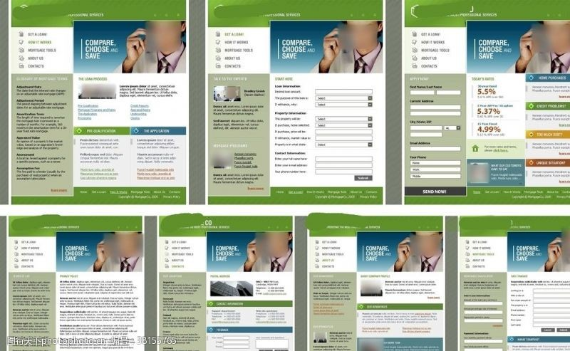 網頁模板綠色金融企業網站模板