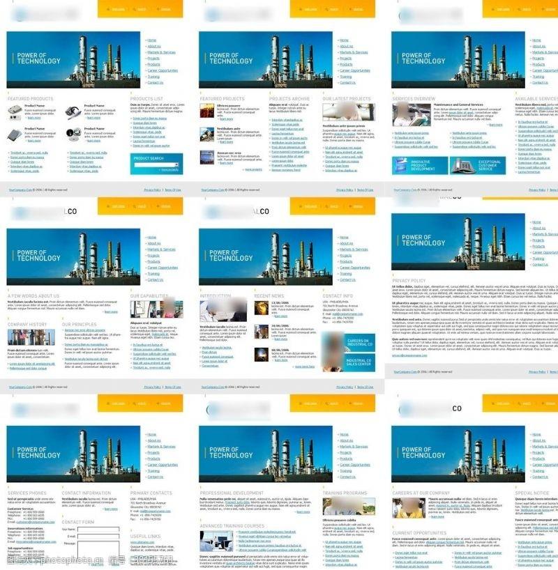 網頁模板英文傳統工業網站模板