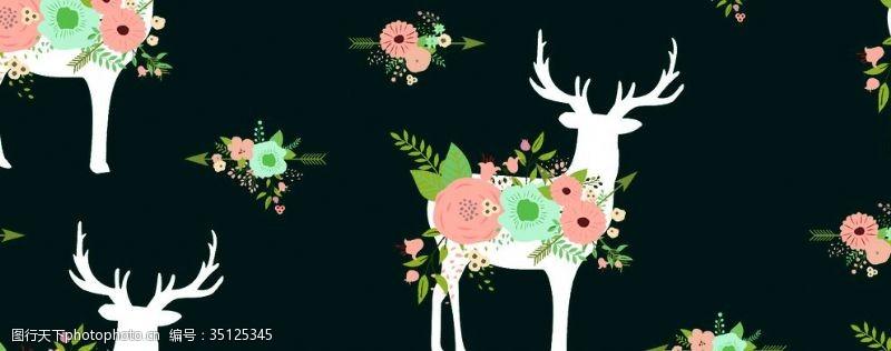卡通玫瑰花鹿