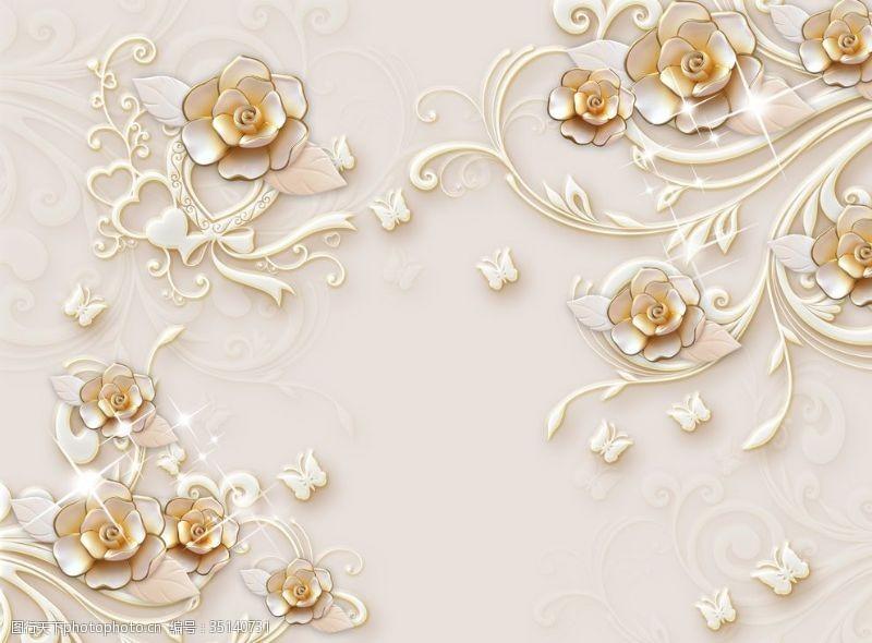 梦幻荷花欧式花纹背景墙珠宝背景墙