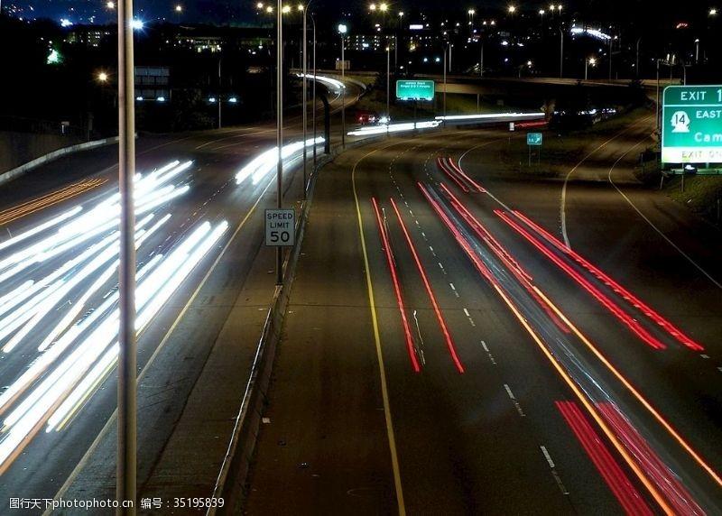 城市流光夜晚城市交通道路流光