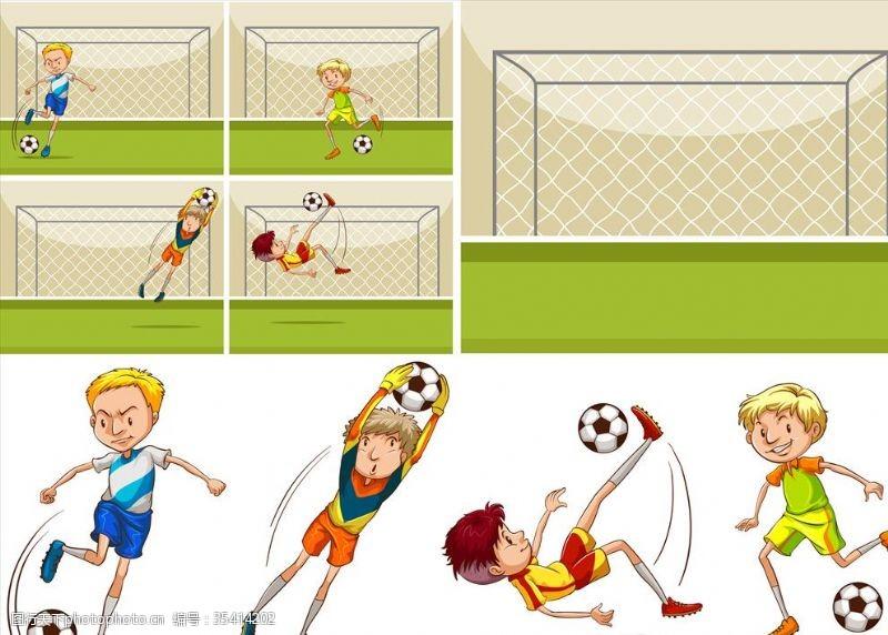 体育比赛卡通足球儿童