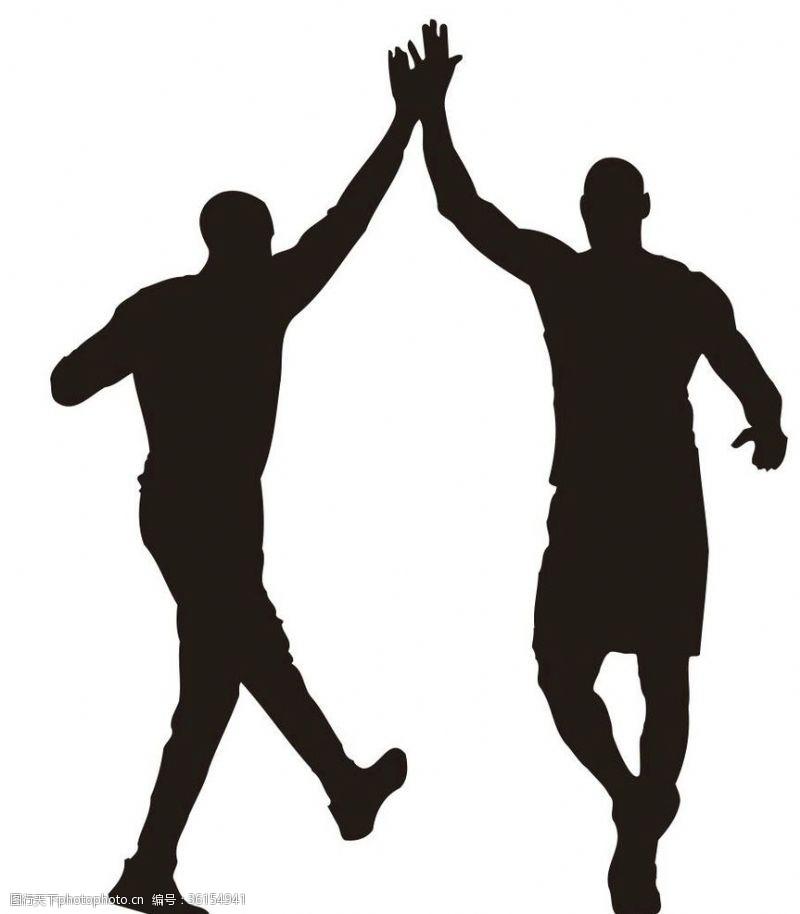 篮球剪影击掌剪影