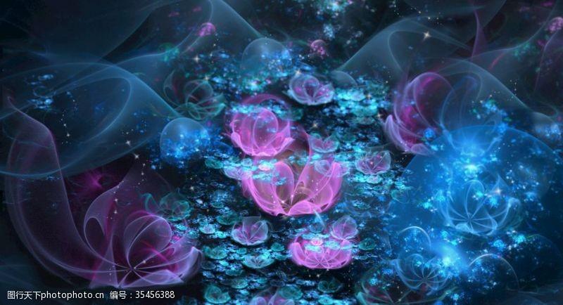 分形花蓝色艺术花
