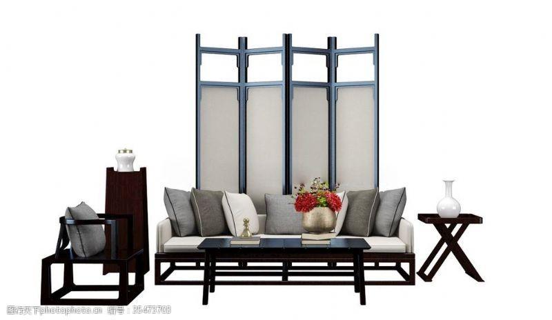 布艺沙发沙发组合茶几屏风