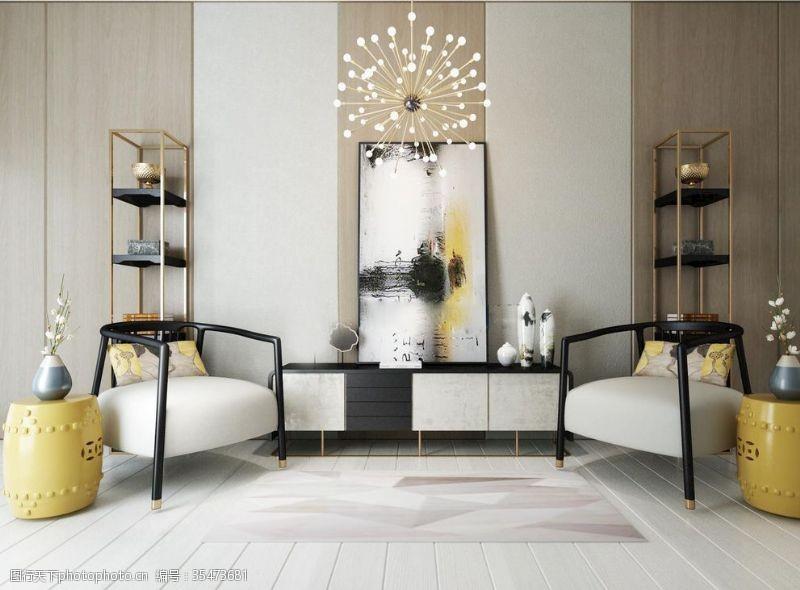 布艺沙发沙发茶几柜子相框