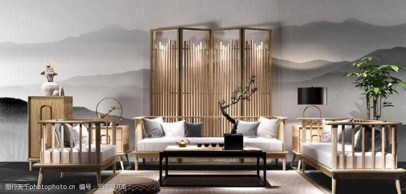 布艺沙发沙发组合屏风实木家具