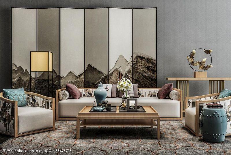 布艺沙发沙发组合屏风实木椅