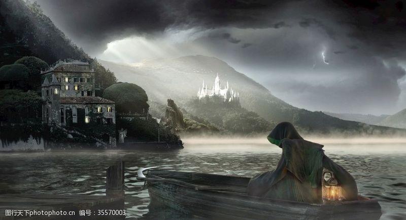 黑夜恐怖水面背景素材壁纸