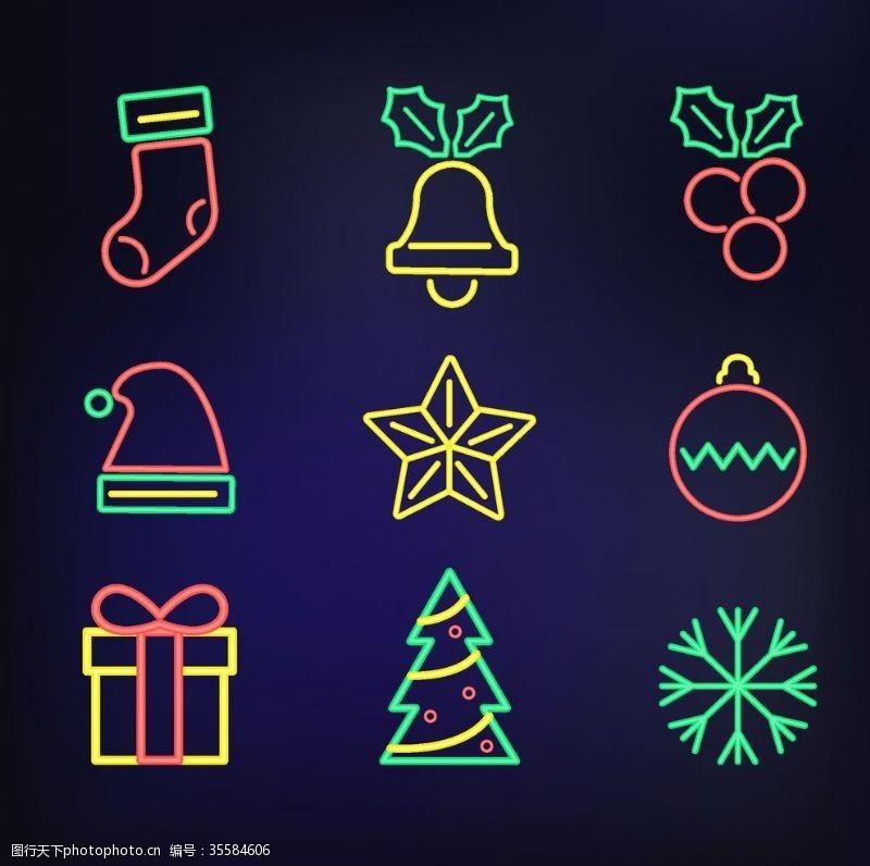 圣诞星星圣诞图标霓虹灯