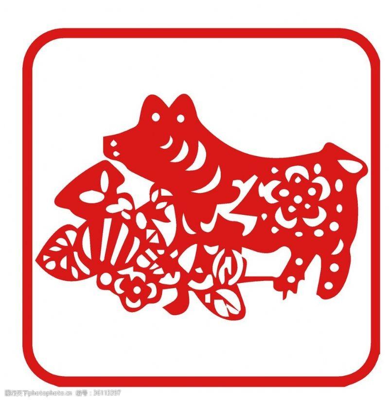 精美素材12生肖猪剪纸红色年画素材