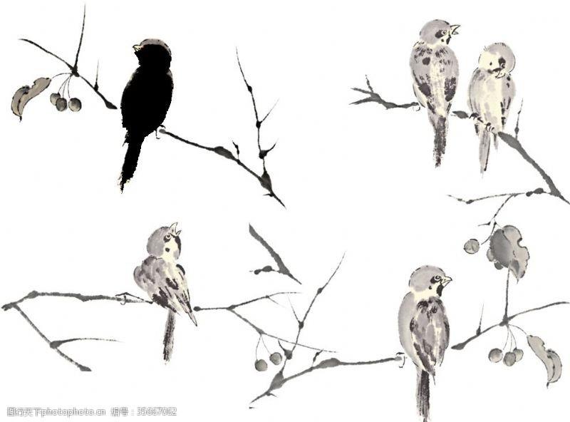 树枝小鸟水墨小鸟