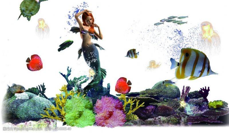 墙面画3D美人鱼