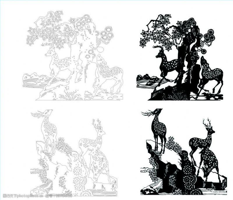 铁艺围墙梅花鹿雕刻图