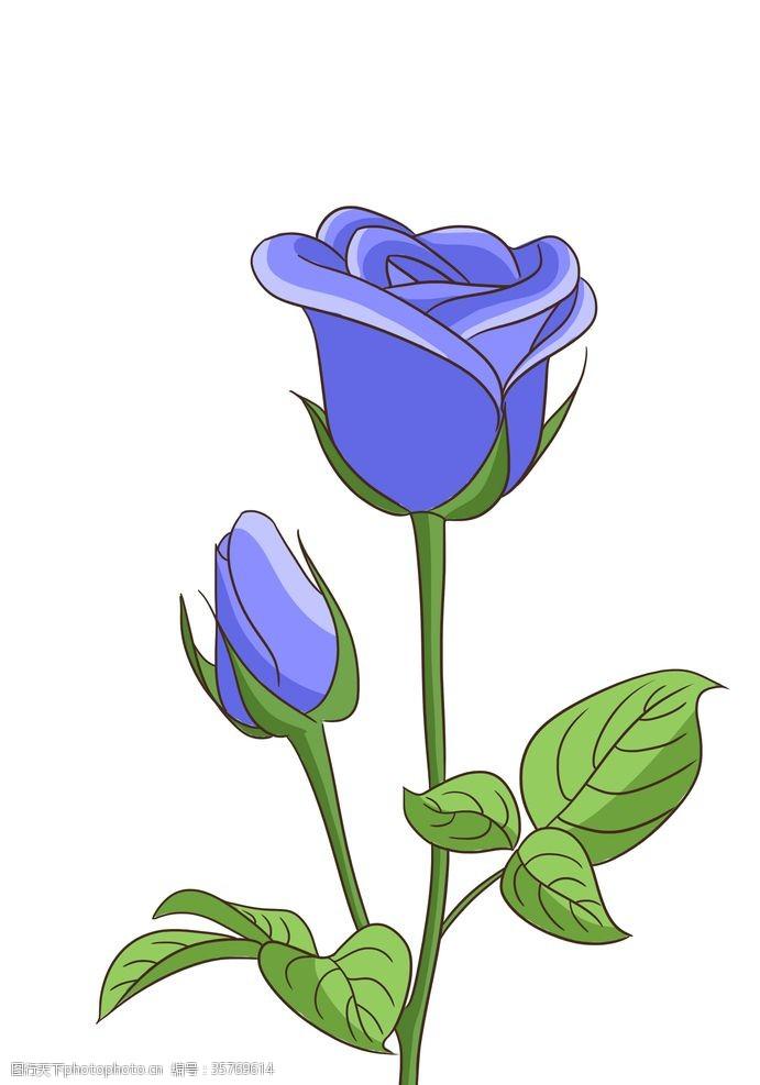 手绘蓝色妖姬卡通玫瑰花
