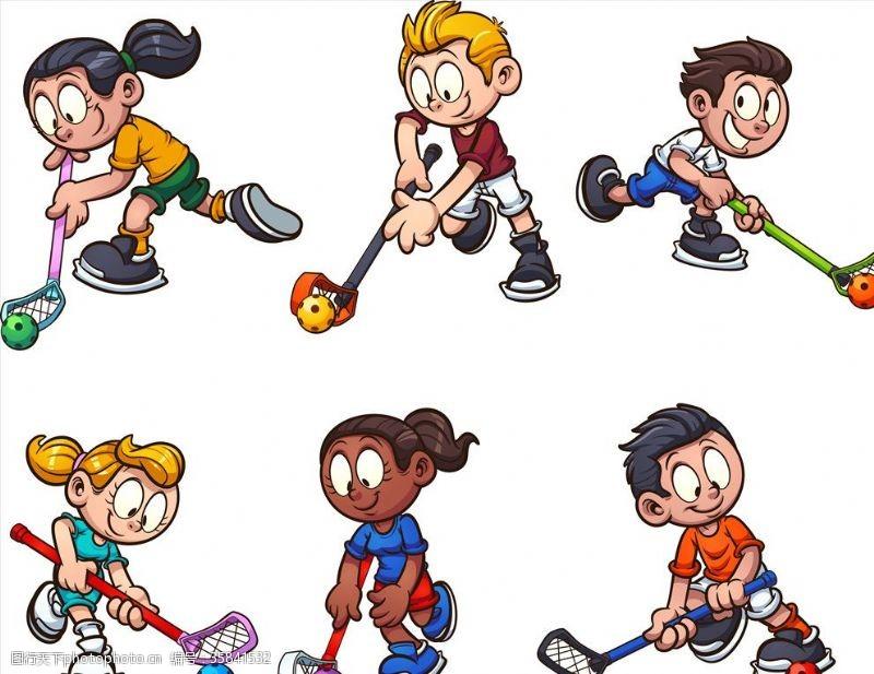 体育比赛卡通曲棍球运动