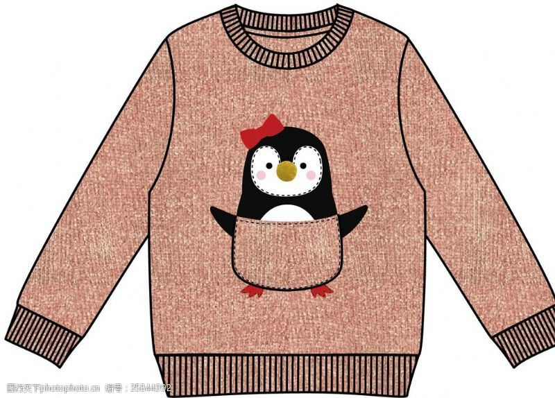 贴布绣企鹅毛衫