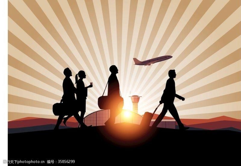 西装革履机场旅客剪影