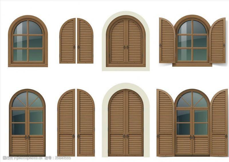 门窗宣传单门窗插画