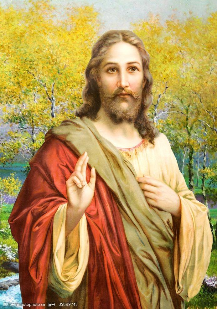 神爱世人基督耶稣上帝文化无框油画