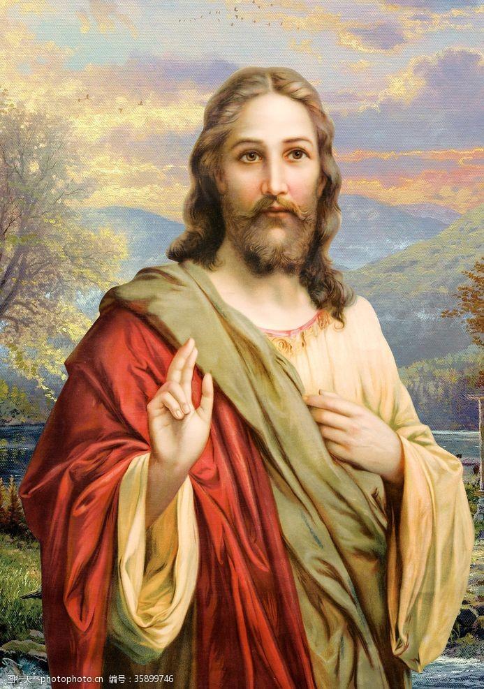 神爱世人基督耶稣上帝无框油画像