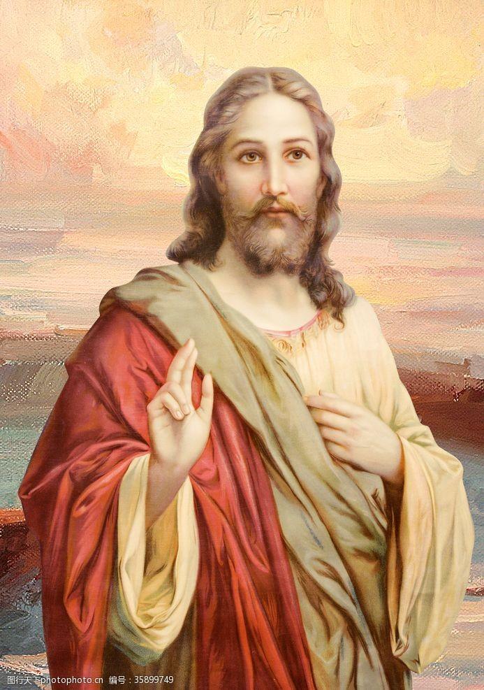 神爱世人上帝耶稣油画像