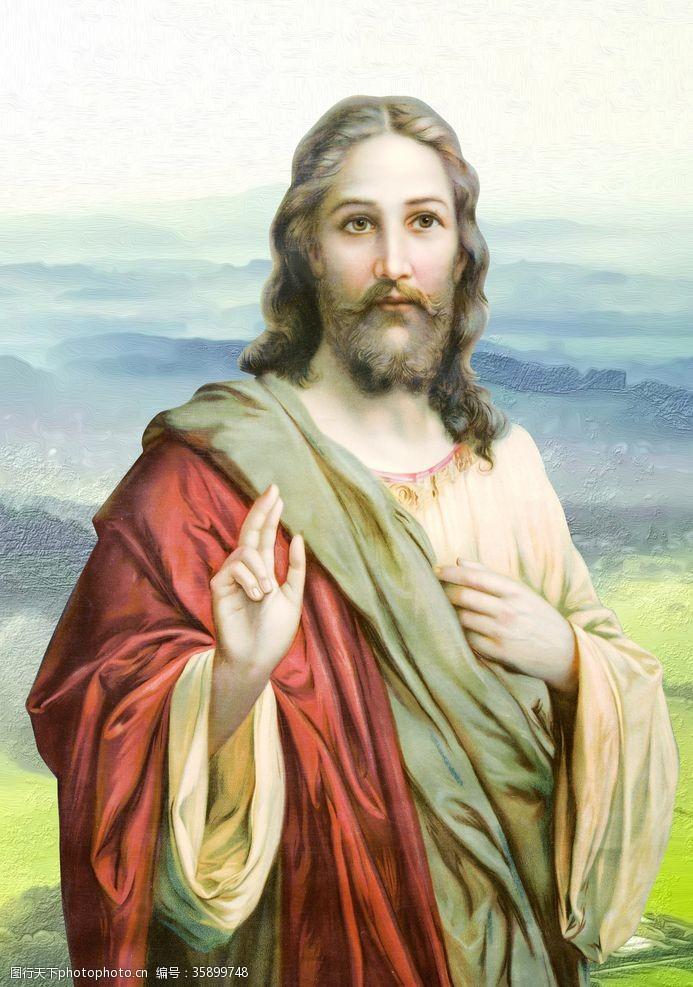 神爱世人无框画耶稣基督上帝油画