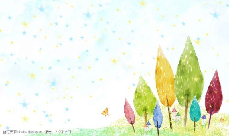 韩国背景儿童卡通背景图片手绘