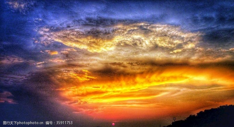 色彩天空火烧云天空云朵