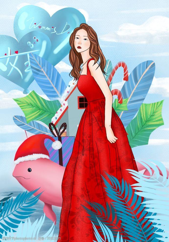 圣诞美女美女插画