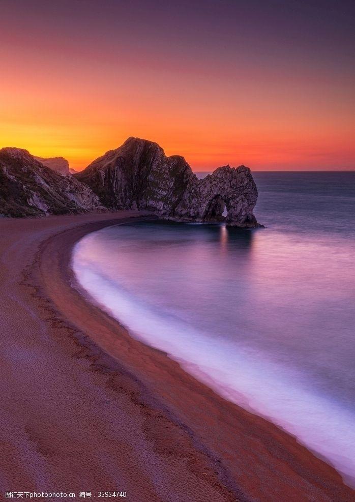 beach唯美黄昏海边沙滩风景
