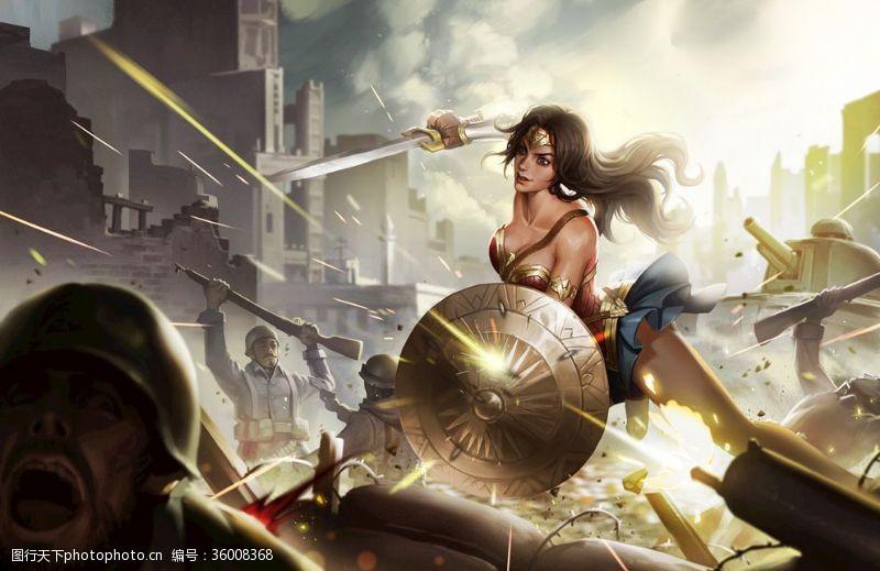 天堂岛DC超级英雄神奇女侠同人手绘