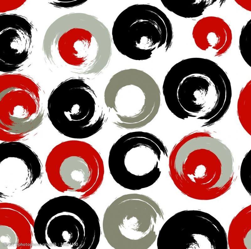 水墨圈圈黑白红灰