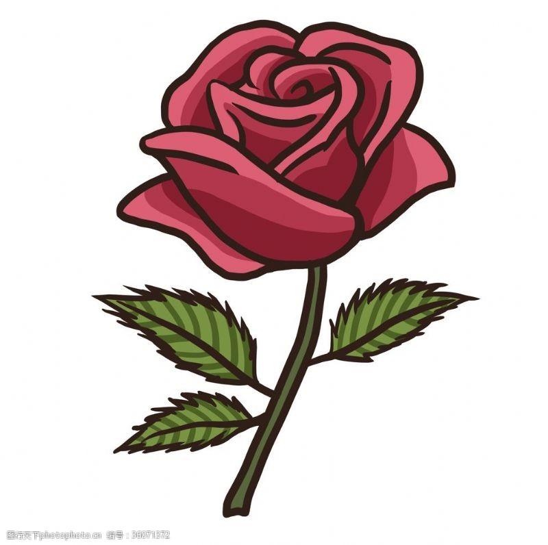 手绘卡通玫瑰花