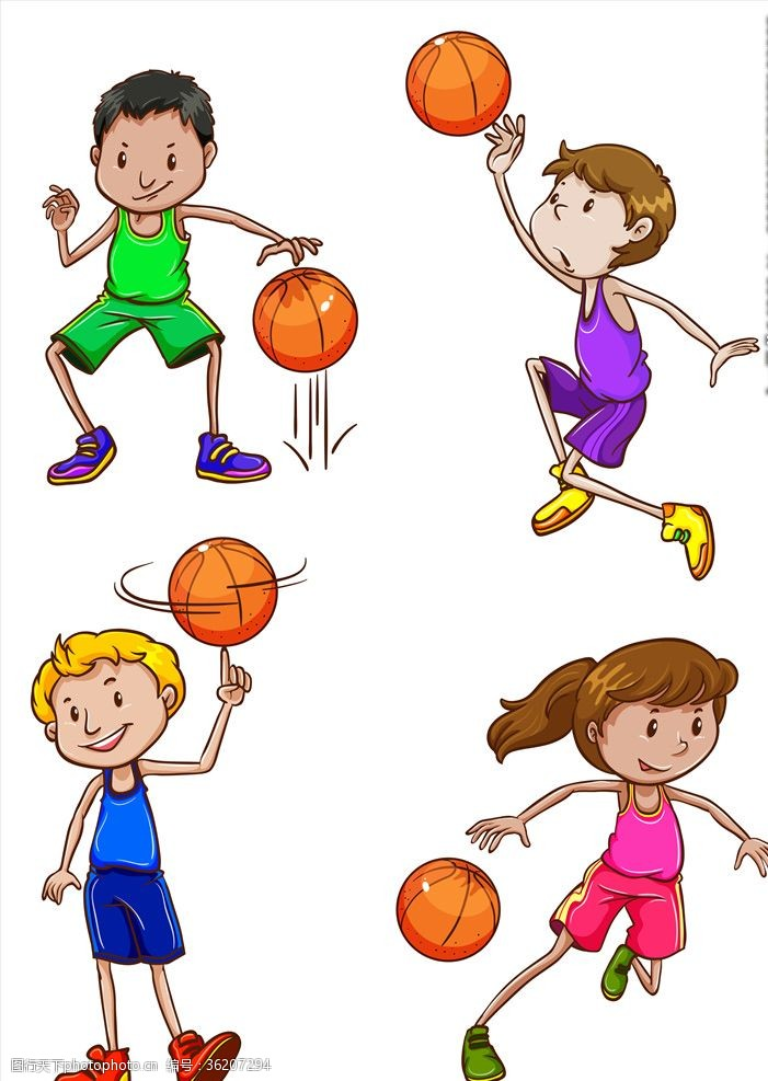体育比赛卡通蓝球儿童