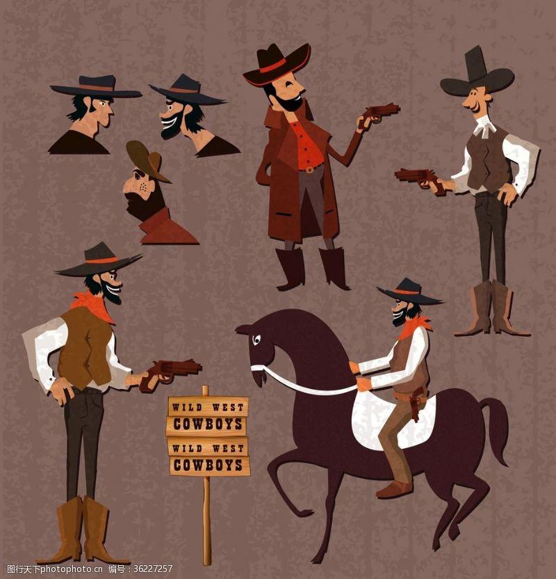 男子头像创意西部牛仔矢量素材