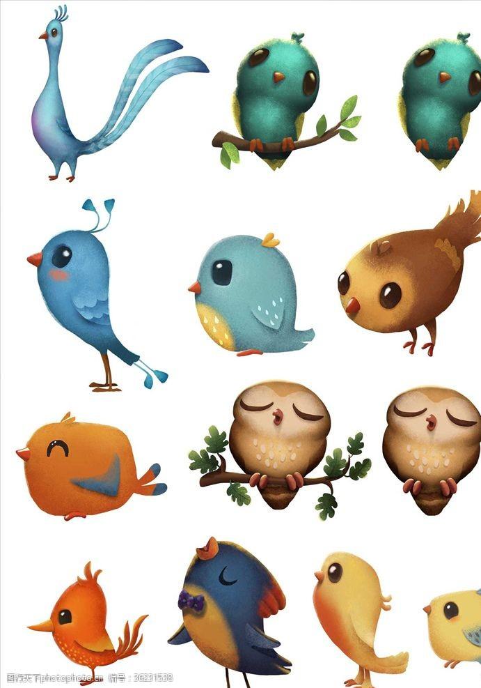 小鸟插图卡通小鸟