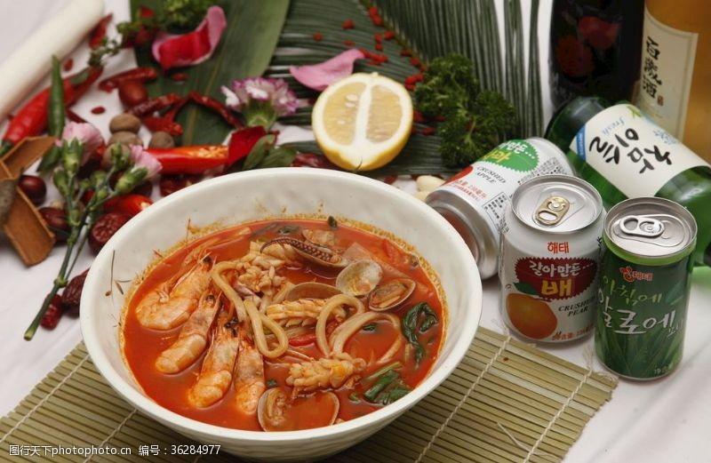 冷面韩式海鲜辣汤面