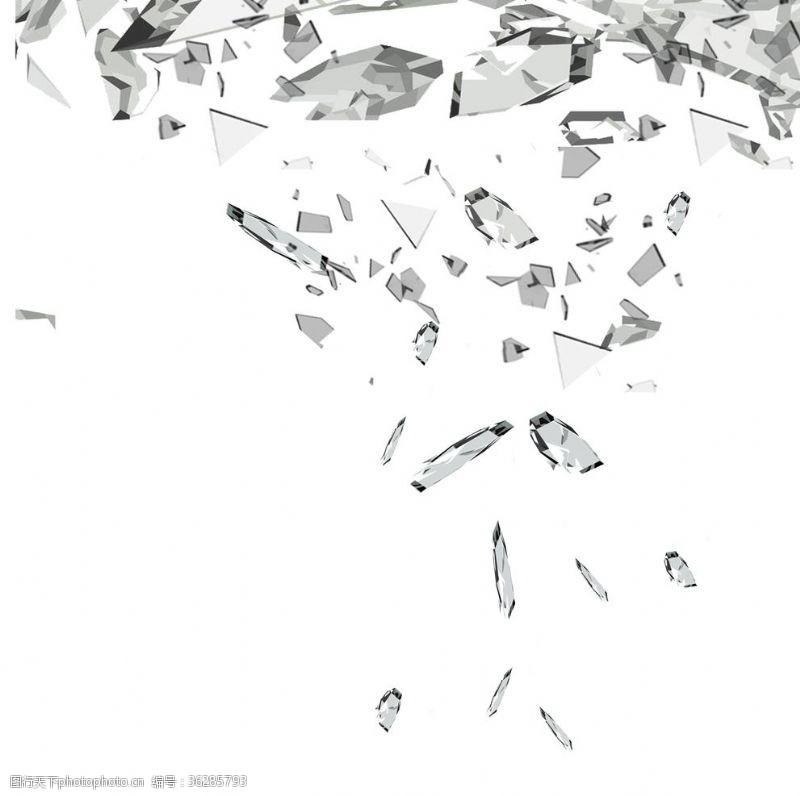 炸裂破碎玻璃素材
