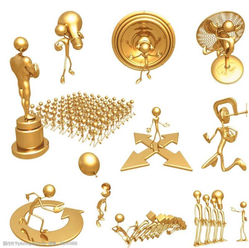 概念图片金色3D人