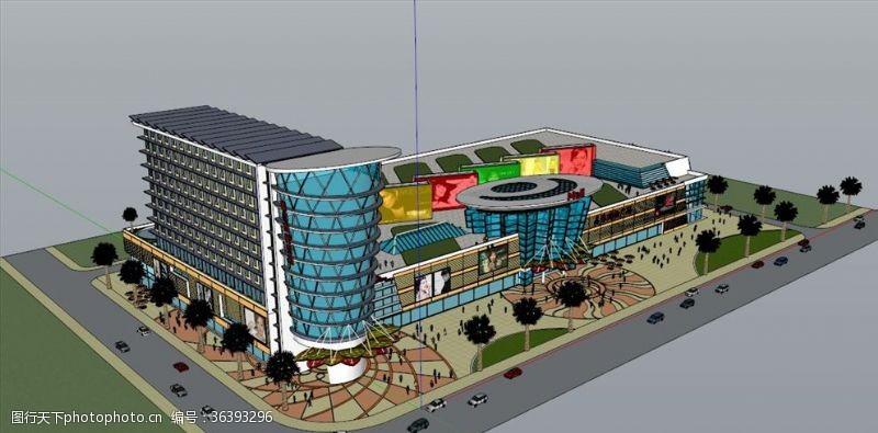 商业中心广场大超市立体模型效果