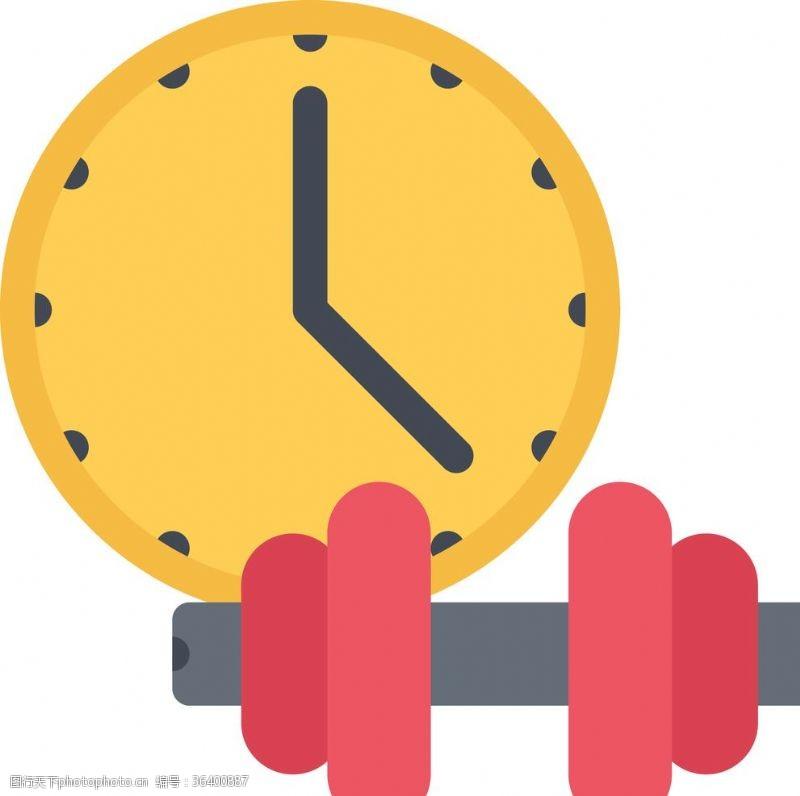 健身房器材哑铃钟表UI标识标志