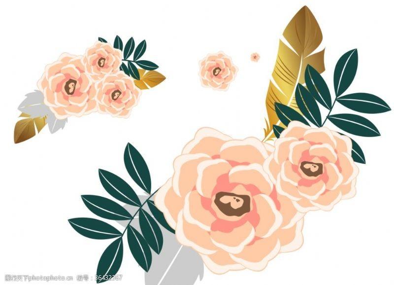 卡通玫瑰花矢量玫瑰花